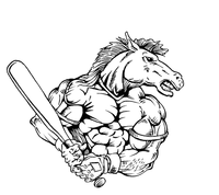 Baseball Horse Mascot Decal / Sticker 4 ^This white rectangle is NOT part of the decal^