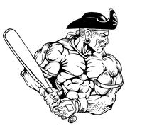 Baseball Pirates Mascot Decal / Sticker 2