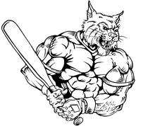 Baseball Wildcats Mascot Decal / Sticker 2
