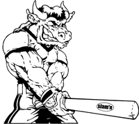 Baseball Batter Buffalo Mascot Decal / Sticker 02r