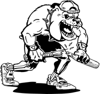 Broken Baseball Bat Bulldog Mascot Decal / Sticker