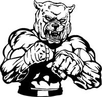 Boxing Bulldog Mascot Decal / Sticker