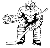 Hockey Bulldog Mascot Decal / Sticker 1