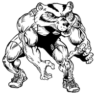 Wrestling Wolverines / Badgers Mascot Decal / Sticker 2