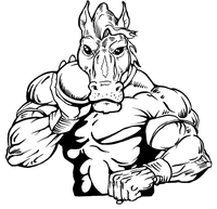 Track and Field Horse Mascot Decal / Sticker 3