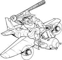 Baseball Cowboys Mascot Decal / Sticker on a Plane