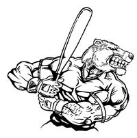 Baseball Batter Bear Mascot Decal / Sticker 04