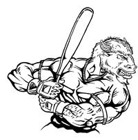 Baseball Buffalo Mascot Decal / Sticker ba9