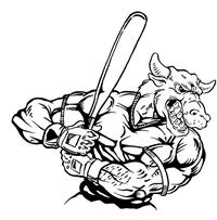 Baseball Bull Mascot Decal / Sticker 09