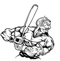 Baseball Devils Mascot Decal / Sticker 8