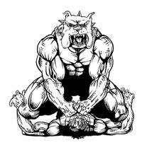 Wrestling Bulldog Mascot Decal / Sticker 1