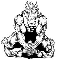 Wrestling Horse Mascot Decal / Sticker 1