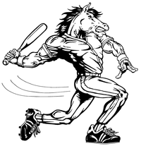 Baseball Horse Mascot Decal / Sticker 7