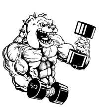 Weightlifting Bulldog Mascot Decal / Sticker 5