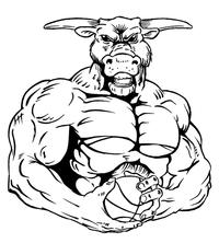 Basketball Bull Mascot Decal / Sticker 6