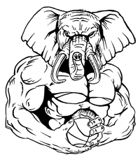 Basketball Elephants Mascot Decal / Sticker 5