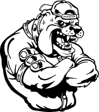 Baseball Bulldog Mascot Decal / Sticker ^This white rectangle is NOT part of the decal^