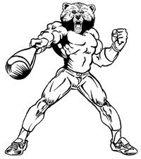 Baseball Batting Bear Mascot Decal / Sticker