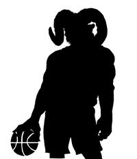 Basketball Rams Mascot Decal / Sticker 1