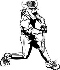Baseball Batter Buffalo Mascot Decal / Sticker