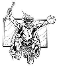 Basketball Comets Mascot Decal / Sticker 2