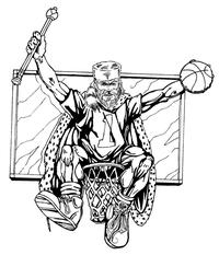 Basketball Frontiersman Mascot Decal / Sticker 1