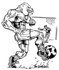 Soccer Bulldog Mascot Decal / Sticker 4