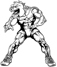 Wrestling Bulldog Mascot Decal / Sticker 2