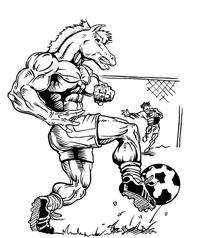 Soccer Horse Mascot Decal / Sticker 4