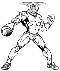 Baseball Bull Mascot Decal / Sticker 06