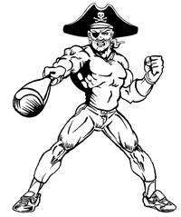 Baseball Pirates Mascot Decal / Sticker 3
