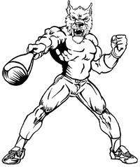 Baseball Wolves Mascot Decal / Sticker 2