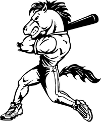 Baseball Horse Mascot Decal / Sticker ^This white rectangle is NOT part of the decal^