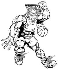 Basketball Buffalo Mascot Decal / Sticker bk4