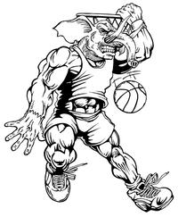 Basketball Elephants Mascot Decal / Sticker 4