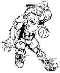 Basketball Horse Mascot Decal / Sticker 3