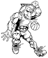 Basketball Horse Mascot Decal / Sticker 3 ^This white rectangle is NOT part of the decal^