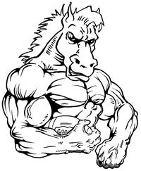 Football Horse Mascot Decal / Sticker 4