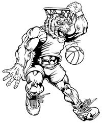 Basketball Tigers Mascot Decal / Sticker 3