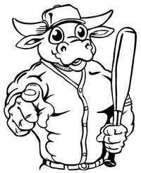 Baseball Bull Mascot Decal / Sticker 10