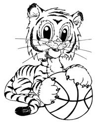 Basketball Tigers Cub Mascot Decal / Sticker 1