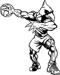 Basketball Cardinals Mascot Decal / Sticker
