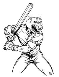 Baseball Batter Bear Mascot Decal / Sticker 02