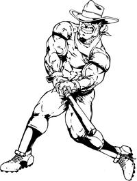 Baseball Cowboys Mascot Decal / Sticker