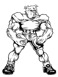 Baseball Bulldog Mascot Decal / Sticker 07 ^This white rectangle is NOT part of the decal^
