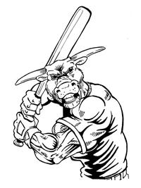 Baseball Bull Mascot Decal / Sticker 07