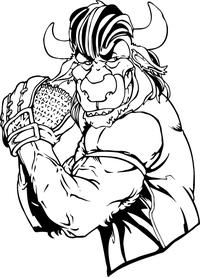 Baseball Pitcher Buffalo Mascot Decal / Sticker