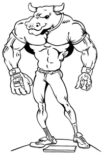 Baseball Bull Mascot Decal / Sticker 03