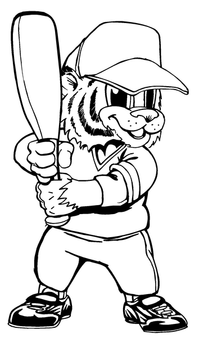 Baseball Tigers Mascot Decal / Sticker 7