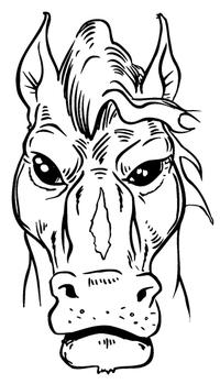 Horse Mascot Head Decal / Sticker 2